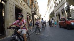 The Horton family riding through the streets of Rome on their bike tour , Honeybee - January 2017