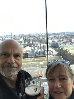 My wife and I in the Gravity Bar, at the top of the Guinness Storehouse , Steve - April 2017