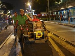 Trishaw ride on New Bridge Road, we are faster than the rest of the traffic :) , Elena G - June 2014