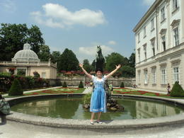 Me in an original diedl on Mirabell gardens where the Sound of Music was shot , Gina B A - July 2012