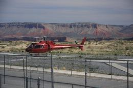 The helicopter that took us down to Colorado River. Think my hands were shaking just a tiny little bit there prior to boarding the chopper... but the flight was great, so no reasons to worry., Christine O - April 2008