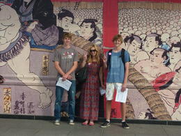 Me and my sons outside the Kokugikan Arena , Leanne M - October 2013