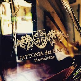 In Montalcino with a glass of wine from the Fattoria dei Barbi. , Eva L - August 2015