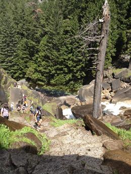 Hiking to the top of a waterfall at Yosemite, Melinda - August 2014
