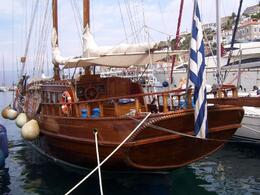 This ship was docked on Poros, the second island we went to, Linda H - September 2009