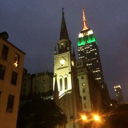 Empire State building lit up at night. , Lucianne F - September 2014