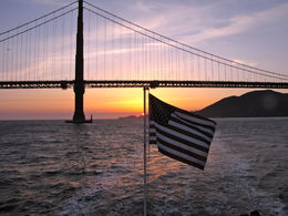 Bridge photo with American flag, off the bow of the cruise vessel. , Laurel R - April 2015