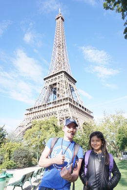Antoine our guide and my daughter Baby Solange in front of the Tower , Solange D - September 2015