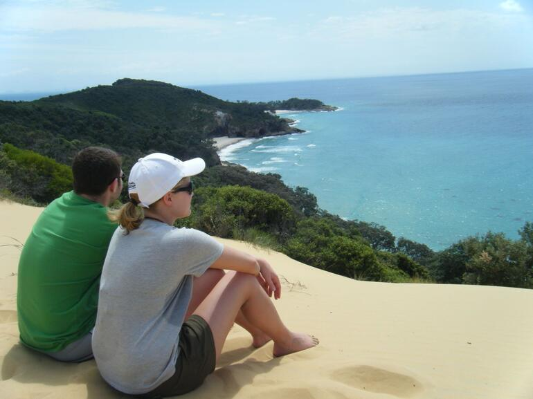 Moreton Island: resting after hiking to the top - Brisbane