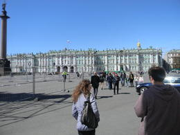 Lita and Danny Schmidt entering Palace Square (where the Bolshiveks began the October Revolution in 1917. The Winter Palace is one of the 5 buildings of the State Hermitage Museum. If you spent..., John L S - July 2014