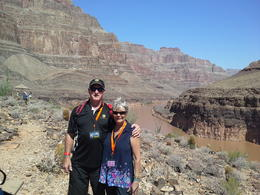My wife and I after our helicopter flight from the escarpment. , Peter S - August 2014