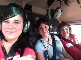 In the helicopter at 7:00 am on our way to the Grand Canyon , Joy P - July 2012