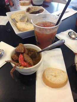 Bowl of gumbo from the French Market (the delicious Bloody Mary is also from the French Market, but not included) , Leah - June 2014