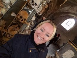 Weird to smile in a church made out of human remains, but i was happy to finally see this place! , Barbara C - May 2016