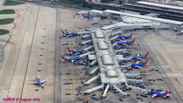 Bird's eye view of Chicago Midway Airport dominated by Southwest Airlines' B737s , N Robert A - August 2014