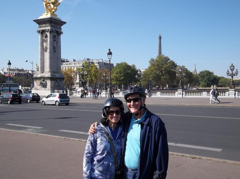 Stopping to see the sights while crossing the Seine River on our segways. - Paris