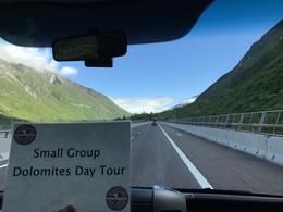 My front row view enroute up to the Dolomites - sign only held up for pic , Dana M - June 2017