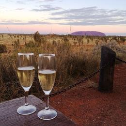 Champagne as the sun sets over Uluru , Jill B - August 2014