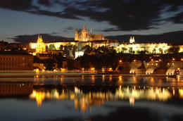 Panoramic night view to Lesser Town, Prague Castle, St Nicholas Church and Charles Bridge, Prague - May 2011