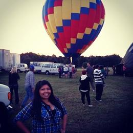 Me right before we jumped into our own balloon. Incredible how large the basket and balloon is! , Farah G - October 2014