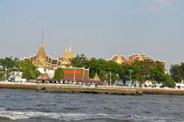 View of palace in Bangkok from the river boat ride back to the city. , Julie B - May 2017