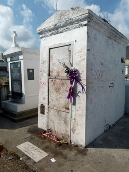 The tomb is covered in and quot;X's and quot; and lip prints as natives and visitors alike make their intentions known to the voodoo queen, Marie LaVeaux. , Rebecca S - August 2013