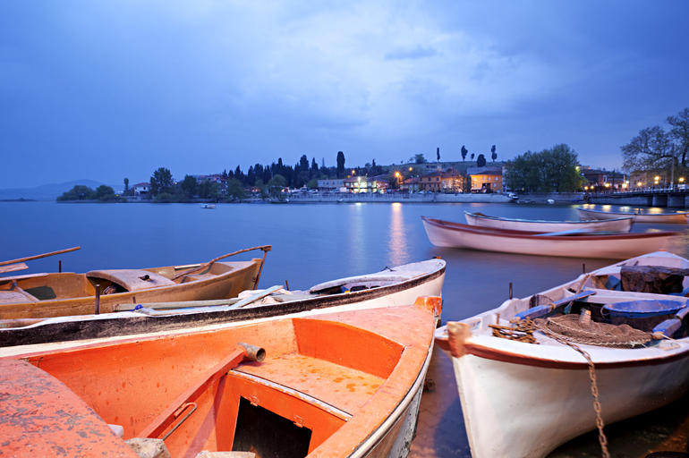 Fishing boats, sunrise in Bursa - Istanbul
