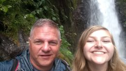 Father and daughter drink in the natural beauty of the La Paz Waterfall Gardens. , Brooke C - June 2016