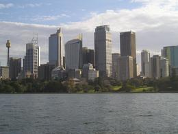 The Sydney skyline with Sydney Tower as seen from my bike., Christine C - July 2008