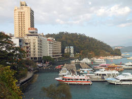 Hotels and marina at Sun Moon Lake. We spent the first night of the tour here. , Barry S - January 2013