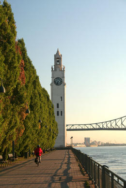 Montreal by bike with view of Old-Port Clock Tower at sunrise - May 2011