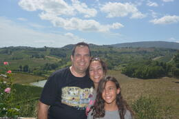 George, Ileana, and Alana with the beautiful Italian countryside in the background , George G - August 2014