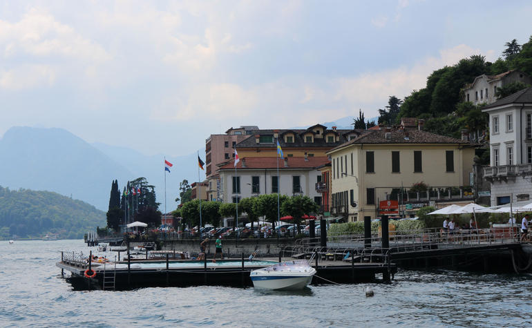Grand Hotel Tremezzo swimming pool and Lake Como - view from boat - Milan
