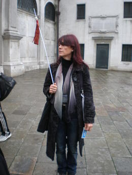 Our walking tour guide with a handy flag so no one got lost. Notice the loudspeaker round her neck, which she used so we could hear above the noise of the crowds. , cruicka - November 2011