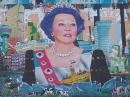 A huge artwork showing parts of Holland and Queen Beatrix at the Dam Square., Chou Fleur - September 2010