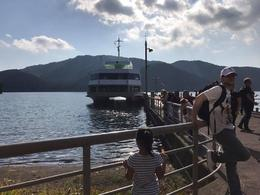 Waiting to board for Lake Ashi cruise , Rissa - November 2016