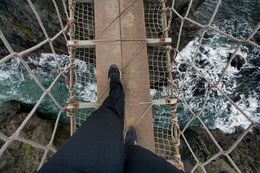 Walking on the rope bridge gingerly, Sherry O - March 2015