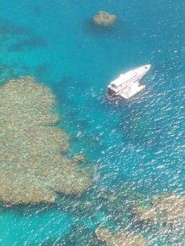The reef and our boat seen from the helicopter tour! , Margarida A - November 2015