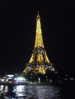 Eiffel Tower at 10pm from cruise boat on Seine river. , PETE - August 2012
