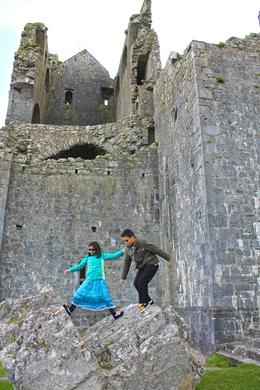 Our 10 year old twins at the Rock of Cashel , JumpingNorman - May 2014