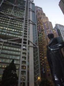 Statue of the chief manager of Hong Kong Banking Corp - August 2012