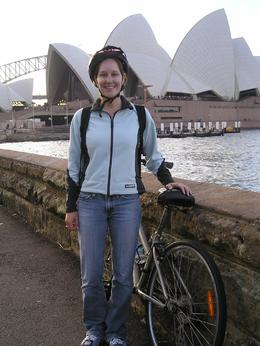 Here's me in front of the Sydney Opera House. The bikes were new and comfortable and they provided all necessary safety equipment., Christine C - July 2008