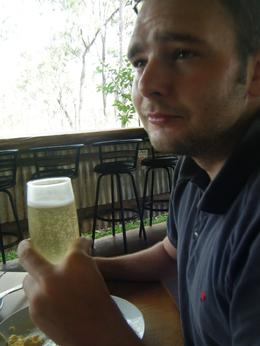 jason enjoying the champagne breakfast, Robin B - April 2009