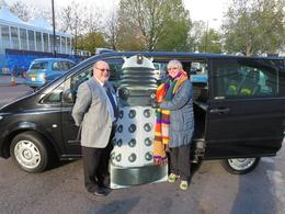 Richard Liddle, our fabulous tour guide, Dalek and me , Susan W - January 2014