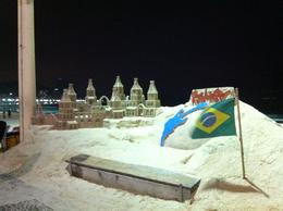 Sand sculpture on Copacabana Beach , Saké - September 2011