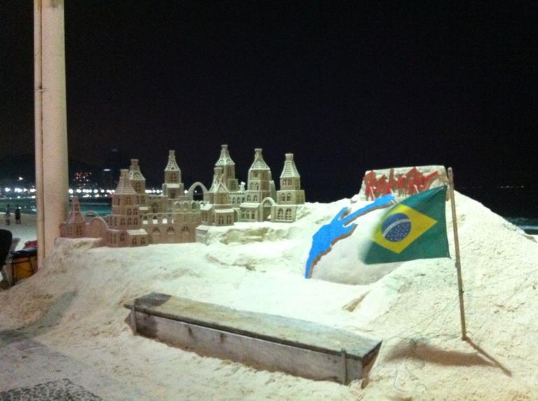 Sand sculpture on Copacabana Beach - Rio de Janeiro