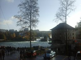 View from carpark toward Rhine Falls , Kathy K - November 2015