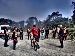 Our guide, Steve, giving us another safety briefing right before starting the death road part, Bandit - July 2014