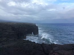 Lava meets the sea Big Island Hawaii - awesome scenery and contrast between black lava and the ocean. , Judith A C - May 2015