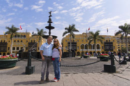 Lima City Tour - Plaza de Armas, Central Fountain with the Municipal Palace in the background with Collin and Patti. , Chefman - June 2015
